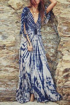 Stylish Plunging Neck Split Sleeve Printed Women's Maxi Dress