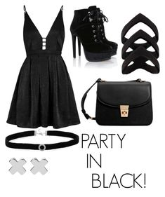 """""""party in black"""" by araceliamachuy on Polyvore featuring Free People, MANGO, BillyTheTree and Witchery"""