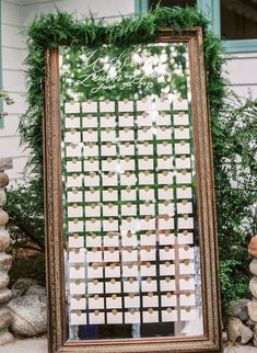 57 Best Escort Cards and Seating Displays - wedding escort card displays, wedding seating chart Wedding Name Cards, Card Table Wedding, Seating Chart Wedding, Mirror Seating Chart, Table Seating Chart, Seating Cards, Wedding Signage, Wedding Places, Planer