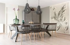 ♡ • • • Grey Interior Design, Grey Room, Dining Room Design, Beautiful Dining Rooms, Home Decor Decals, Grey Wall Color, Inside A House, Home Decor, Home Deco