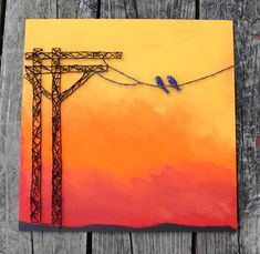 icu ~ Pin on Inspiring String Art Projects ~ Birds On A Wire Nail and String Art by EclecticGreetings on Etsy String Art Diy, String Crafts, Resin Crafts, Crafts To Do, Arts And Crafts, Arte Linear, Cuadros Diy, String Art Patterns, Ideias Diy