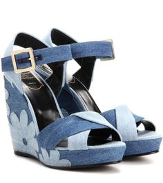 Roger Vivier - Denim patchwork wedge sandals - The blue design features a floral pattern in a patchwork style for a look representative of the season. We're teaming ours with an A-line skirt for a flattering shape. - @ www.mytheresa.com