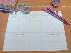 imprimible organizador- agenda escritorio