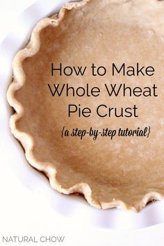 How to Make Whole Wheat Pie Crust. So simple and fantastic for savory dinner turnovers! Used white winter wheat. Replaced half of the water with OJ to lighten wheat taste (it doesn't make it taste like OJ). Kids didn't notice it was whole wheat! Pie Crust Recipes, Flour Recipes, Cooking Recipes, Pie Crusts, Healthy Recipes, Tart Recipes, Healthy Dinners, Yummy Recipes, Whole Wheat Pie Crust