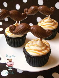 Cupcakes topped with Salted Caramel Buttercream and Chocolate Mustaches--for my friend D Caramel Buttercream Frosting, Buttercream Cupcakes, Baking Cupcakes, Cupcake Recipes, Cupcake Cakes, Cupcake Ideas, Cake Pops, Just Desserts, Delicious Desserts