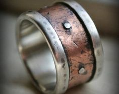 rustic wedding ring set  fine silver and copper and brass