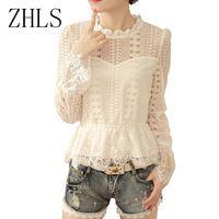 Nova moda feminina outono rendas encabeça mulheres blusas gola camisa branca flare manga casuais blusas femininas