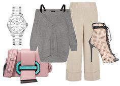 Сумка Prada, часы TAG Heuer, кардиган Theory, брюки Michael Kors Collection, ботильоны Giuseppe Zanotti