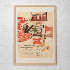 VINTAGE MILLER BEER Ad - Miller High Life Advertisement - Retro Bar Poster Barware Wall Art Man Cave Poster Retro Beer Poster Vintage Beer