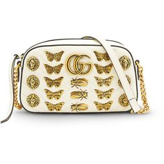 Gucci White Gg Marmont Buttlerfly Bag ($1,890) ❤ liked on Polyvore featuring bags, handbags, shoulder bags, white, white purse, gucci crossbody, gucci, white handbags and white shoulder bag