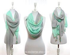 Mint Grey Tassel Woman Scarf So Soft Lightweight by escherpe