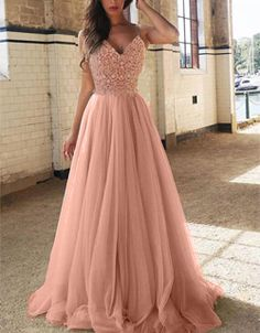 Pink Patchwork Bridesmaid Lace Spaghetti Strap V-neck Evening Party Prom Tulle Maxi Dress Prom Dresses, Formal Dresses, Long Dresses, Tulle, Maxi Robes, Perfect Pink, Black Sequins, Davids Bridal, Evening Party