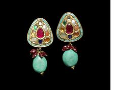 A pair of gem-set Navaratna gold Earrings India, Jewelry Design Earrings, Gold Earrings, Diamond Jewelry, Gold Jewelry, Jewelery, Bohemian Jewelry, Indian Jewelry, Sterling Silver Necklaces, Handcrafted Jewelry