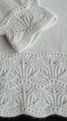 Border with knitting needles Lace Knitting Stitches, Lace Knitting Patterns, Knitting Charts, Lace Patterns, Knitting Designs, Baby Knitting, Knitting Ideas, Knitting Needles, Gilet Crochet