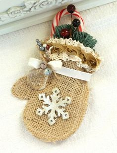 DIY Burlap Mitten - rustic Christmas decoration, snowflake, greenery and red berries, candy cane pocket,