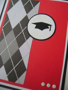Handmade Red and Black Graduation Card