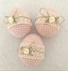 PRETTY little crochet eggs. You could leave the bottom open and have VERY PRETTY egg cozies.......