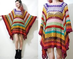 CROCHET DRESS Vintage Colourful Granny Square Bell Sleeve Mini Handmade Rainbow Boho Bohemian Hippy Gypsy vtg Wool XS