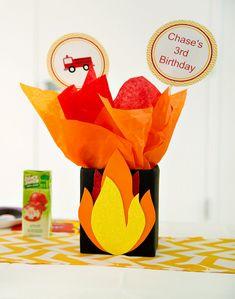 DIY Fireman Party Centerpiece - Tissue Paper Flames