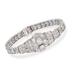 "Ross-Simons - C. 1935 Vintage 5.07 ct. t.w. Diamond Bracelet in Platinum. 6.75"" - #863201"