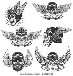 Set of skulls in winged motorcycle helmets. Design elements for logo, label, emblem, sign, badge. Biker Tattoos, Motorcycle Tattoos, Skull Tattoos, Body Art Tattoos, Piston Tattoo, Helmet Tattoo, Motorcycle Helmet Design, Women Motorcycle, Nouveau Tattoo