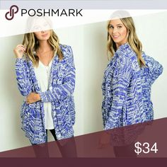 💕COMFY CHIC💕 BLUE WHITE MARLED CARDIGAN This long sleeve cardigan features a button closure, multicolored knit design and hidden pockets on sides. SO CUTE. Perfect for fall!   Available sizes: S/M or M/L   🌻 Top Rated Ebay seller. Check out my feedback. Link posted in Bio page.   Sweaters Cardigans