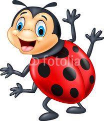 Illustration about Illustration of Cartoon ladybug waving. Illustration of object, dots, emotion - 55843383