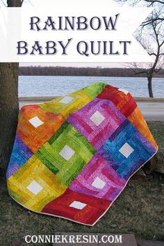 Put a fresh twist on traditional rail fence quilt blocks with this beautiful and bright quilt tutorial that classic and modern quilters will love. This Rainbow Rail Fence Quilt Tutorial uses small strip quilt blocks and fat quarters. Baby Quilt Tutorials, Quilting Tutorials, Quilting Projects, Quilting Designs, Quilting Patterns, Quilting Ideas, Quilting Frames, Patchwork Patterns, Block Patterns