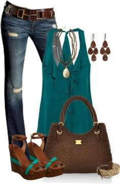 Love this look. Teal tank blouse, platforms. ~V~ #TopToBottom #WearTeal #Belabumbum .                                                                                 I like this a lot , But I do not like these blue jeans !!
