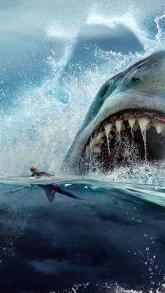 Megalodon (The Meg): Kjempestor kinesisk-amerikansk vennskapshai - Aftenposten Pop Art Wallpaper, Ocean Wallpaper, Meg Movie, Jaws Movie, Mega Shark, Shark Pictures, Shark Photos, Shark Art, Great White Shark
