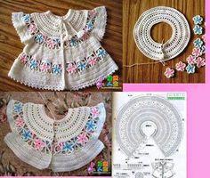 Baby Shirts Charts Crochet Dress Girl Baby Girl Crochet Crochet For Kids Crochet Saco Crochet Coat Crochet Clothes Baby Girl Dresses Beau Crochet, Crochet Diy, Crochet Coat, Crochet Fabric, Crochet For Kids, Crochet Toddler Dress, Crochet Dress Girl, Baby Girl Crochet, Crochet Vest Pattern
