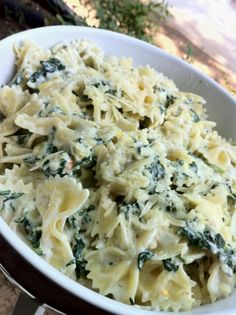 Pasta with spinach and parmesan