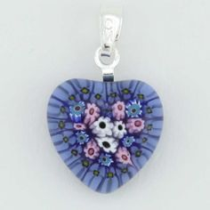 Millefiori heart pendant gold 3 rano glass little heart murano glass see more millefiori heart pendant silver mozeypictures Image collections