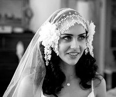1920s Veil, Antique Lace, Silk tulle, Bohemian Style, light ivory Vintage Flapper cap veil from AgnesHart. $445.00, via Etsy.: