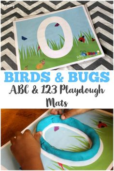 Pick up these birds and bugs spring playdough mats - a fun spring-themed set of preschool playdough mats you can use at home!