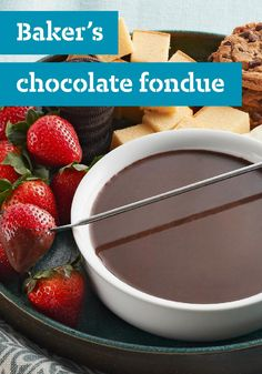 BAKER'S Chocolate Fondue – Melty, delicious chocolate fondue gets an unexpected lift with an infusion of coffee—plus sweet condensed milk for extra creaminess.