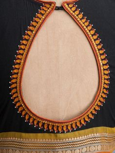 Black-Orange Embroidered Cotton Blouse - All About Hand Work Blouse Design, Simple Blouse Designs, Stylish Blouse Design, Fancy Blouse Designs, Bridal Blouse Designs, Blouse Neck Designs, Cotton Saree Blouse Designs, Designer Blouse Patterns, Hand Embroidery Designs