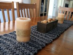grey chunky knit table runner - no pattern