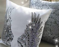 Items similar to Nail Polish Bottle Design Pillow - Nail salon decor - Nail pillow - decor pillow- personalized on Etsy Angel Wings Decor, Angel Wings Wall, Angel Decor, Diy Pillows, Decorative Pillows, Silver Wings, White Wings, Silver Pillows, Wings Design