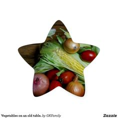 Vegetables on an old table. star sticker