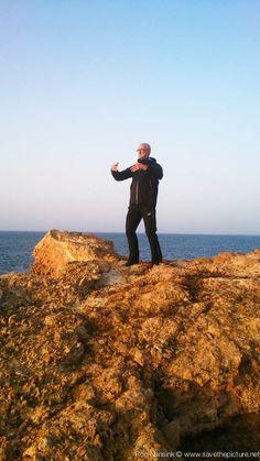 Early morning Ritsuzen training on the magic rock in front of the Natural Tuning retreat location at Casa Gazebo, Ibiza, Spain.