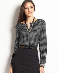 Thumbnail Image of Primary Image of Dot Print Split Neck Blouse