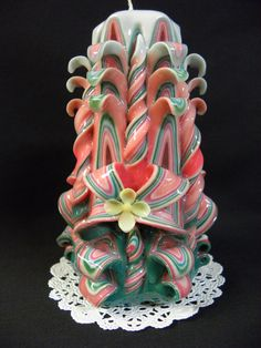 Hand Carved Candle Peach Teal and White by TwoLadiesAndBunny, $20.00
