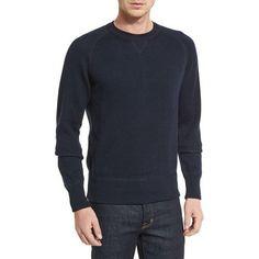 Tom Ford Solid Raglan-Sleeve Sweatshirt in Navy as seen on David Beckham