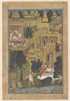 Probably designed by Kesu Kalan (active ca. 1570–1604), Painted by Miskin (active late 1570s–ca. 1604). Krishna and the Golden City of Dwarka from the Harivamsha (Geneology of Vishnu). Opaque watercolor, ink and gold on paper, Mughal School, ca. 1585