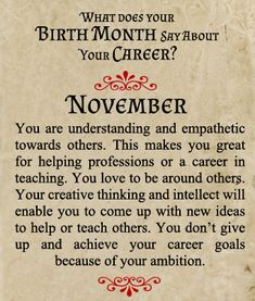 What Does Your Birth Month Say About Your Career?   Born In November