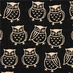 black structured Cosmo fabric with owls from Japan