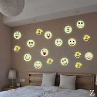 Wish | Glow In The Dark Luminous Fluorescent PVC Wall Stickers Emoji Smiley Face Wall Decal