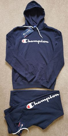 c9a5e1a0d7e CHAMPION AUTHENTIC Tracksuit Hoodie Joggers Pants Gym (M Top) (L Pants)  Men's | eBay