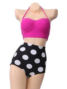 Retro Polka Dot Bikini High Waisted Bikini by TavassoliDesigns